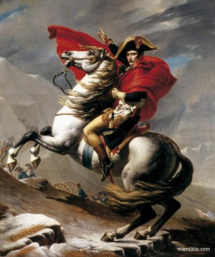 El cónsul Napoleón atraviesa el paso del Gran San Bernardo en su segunda campaña de Italia y se dirige hacia Marengo, según una obra de J. L. David.
