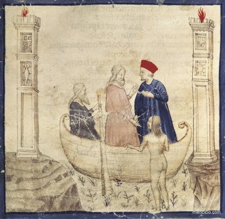 Dante y Virgilio en la barca de Caronte, miniatura que ilustra el Canto III de la Divina Comedia. Esta obra literaria, interpretación mística y simbólica del descenso de un personaje a las regiones de ultratumba, concierne de un modo directo a la responsabilidad del hombre en función del fin al cual tiende, que es Dios.